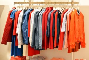 Clothes on a rack to be sold online